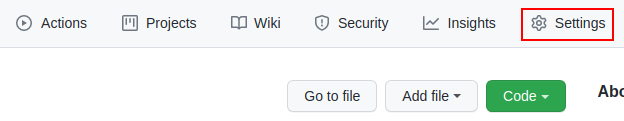 github settings button
